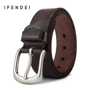 fe3a9e349d51 IFENDEI Men  s Belts Soft Genuine Leather Casual Belt Wild Retro First  Layer Of Leather Waist Copper Pin Buckle Belt Cowboy Jean
