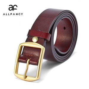 Men s retro casual belts 3.8cm wide pure copper pin buckles design brand head  layer cowhide belt black presents for men 75bcd8631f