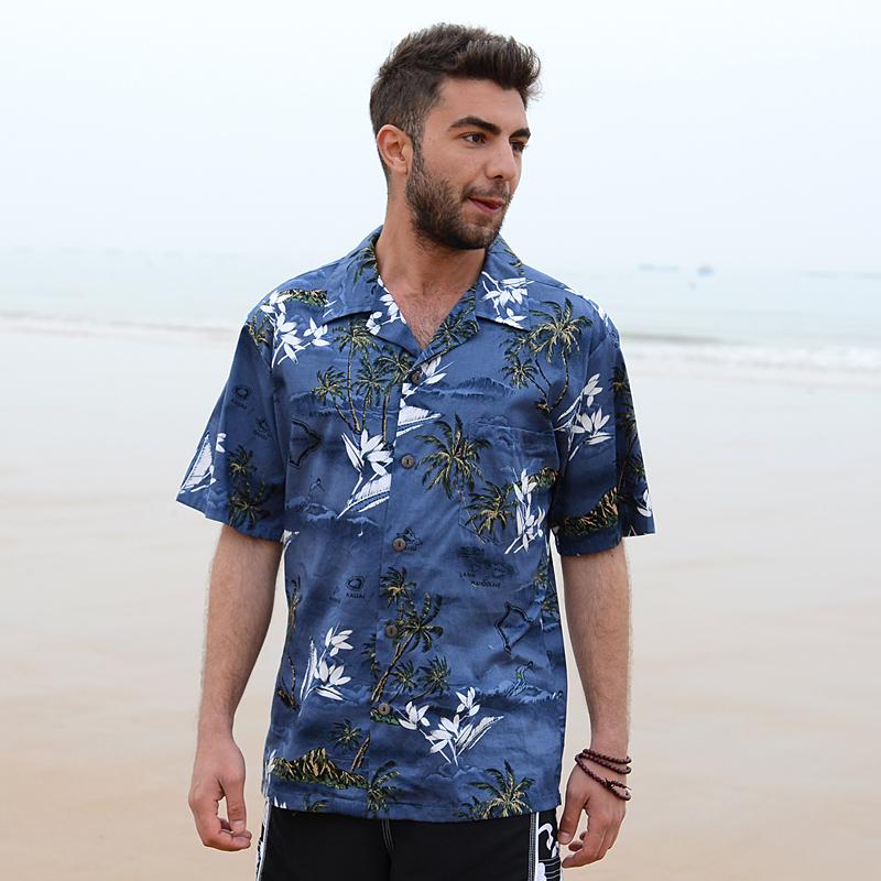 7f6fca2bafd Summer Style Men Shirt Cotton Hawaiian Beach Large Size Short ...