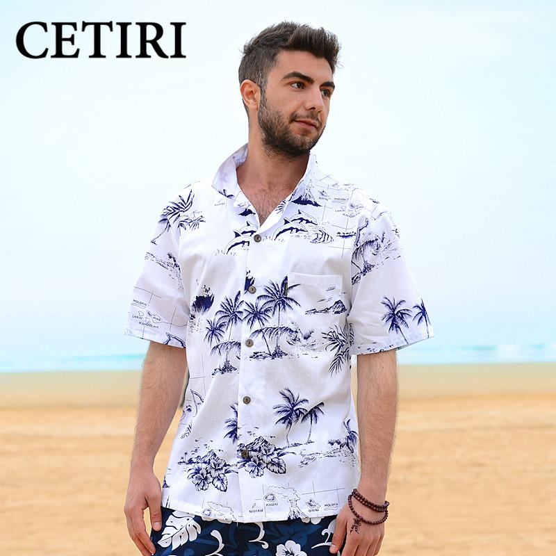 6f20f3ef944 Summer Style Men Shirt Cotton Hawaiian Beach Large Size Short ...
