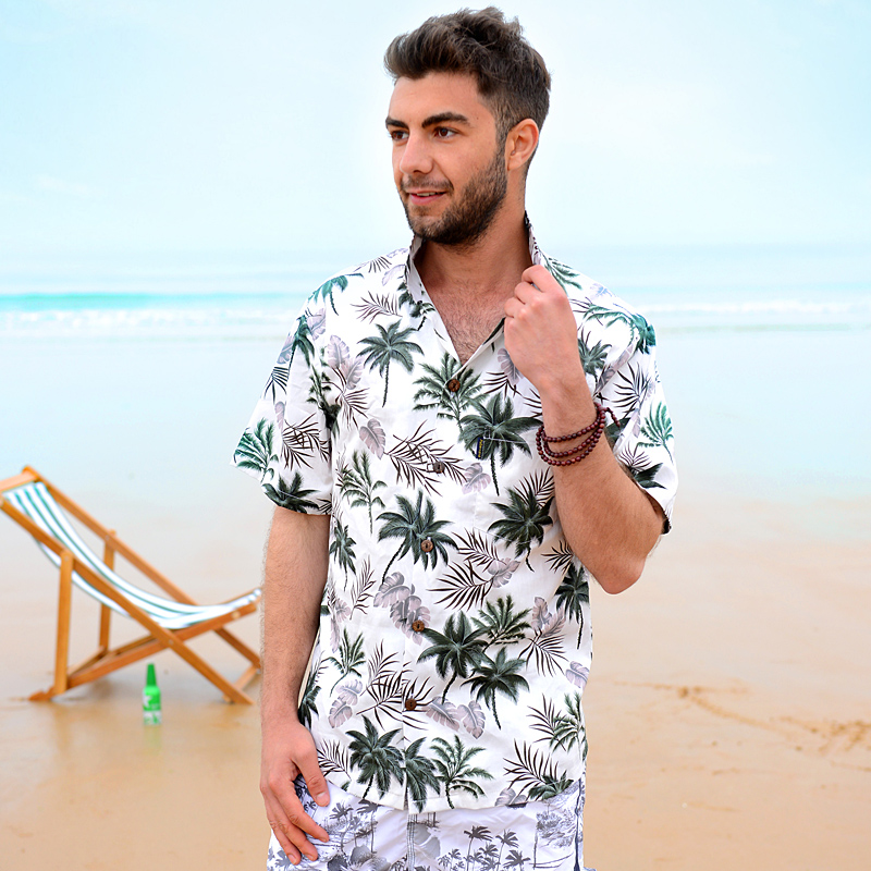 d3e7eac73e9c Cotton Mens Floral Dress Shirts Hawaiian Large Cruise Tropical Luau ...