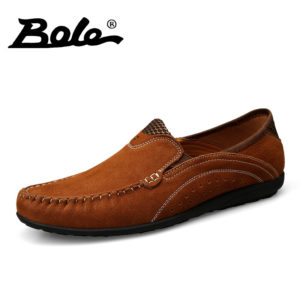 7e0230576964 BOLE New Men Genuine Leather Shoes Design Superstar Slip on Handmade  Moccasins Loafers Breathable Flats Soft Driving Shoes Men