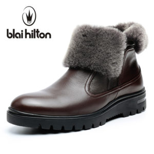 a732c999bc65 Blaibilton winter 100% Genuine Leather Cow Sheepskin Wool-One Patchwork  Snow Boots Men Shoes Side Zip Warm Fur Mens Ankle Boot