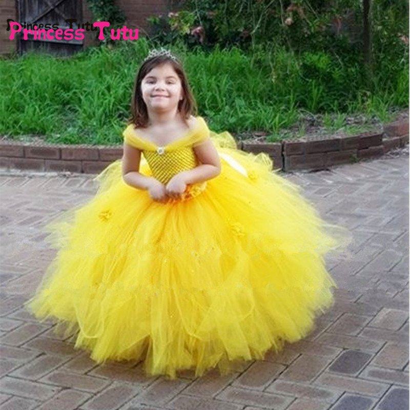 63b72a7e28 Belle Princess Tutu Dress Baby Kids Fancy Party Christmas Halloween Costumes  ...
