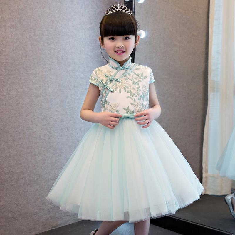 aa9b6f445 Chinese Traditional Girls Summer Dress Children Kids Cheongsam ...