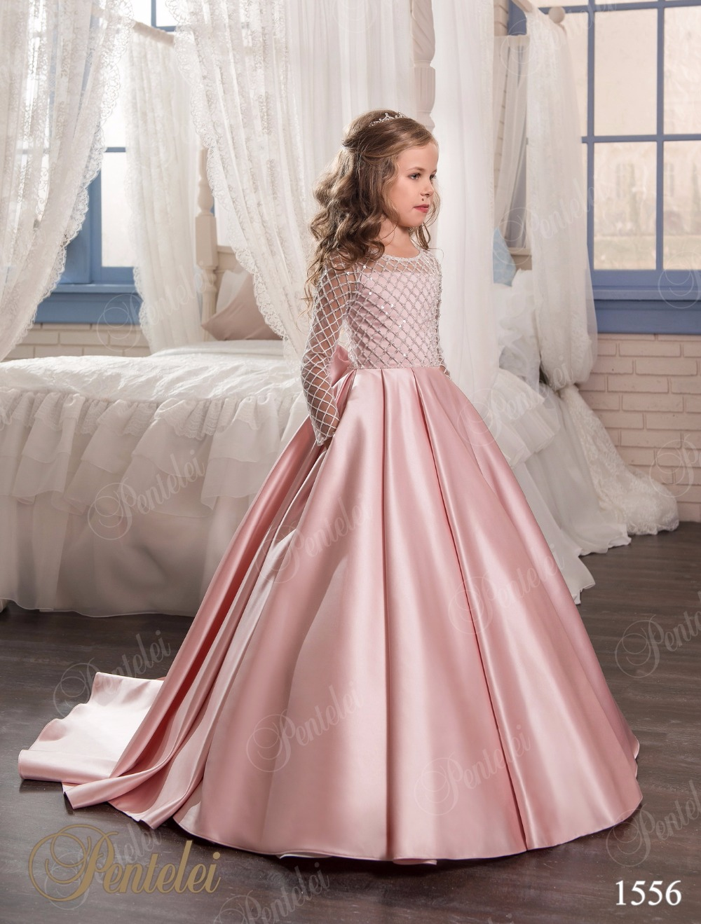 Christmas Fancy Flower Girl Dress Floor Length Button Draped Pink ...