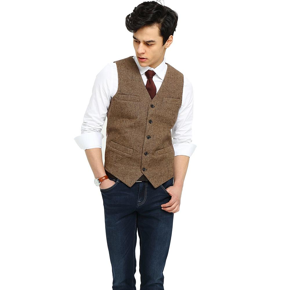 2017 Airtailors Brand Brown Tweed Vest Slim Mens Suit Vest Wedding
